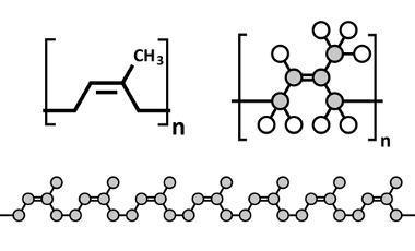Representações do poli-isopreno – constituinte da borracha natural usada na fabricação de luvas de cirurgias, preservativos, botas, etc