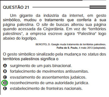 Tema do reconhecimento do Estado Palestino abordado no Enem de 2013