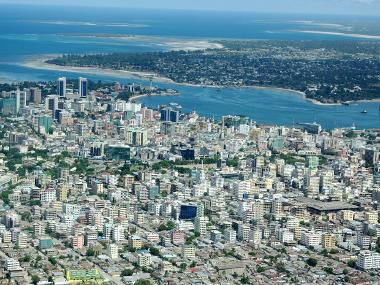 Vista aérea de Dar es Salaam, na Tanzânia