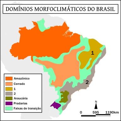 Mapa dos domínios morfoclimáticos brasileiros