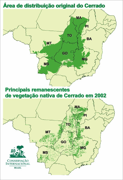 Mapa da devastação do domínio natural do Cerrado