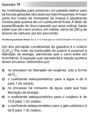 Questão 79 do Enem 2010 no caderno azul