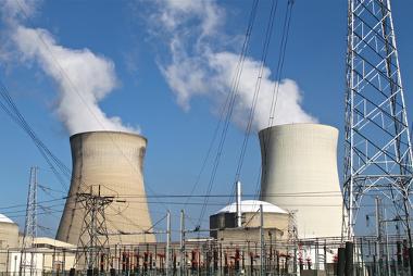 Imagem externa de uma usina nuclear
