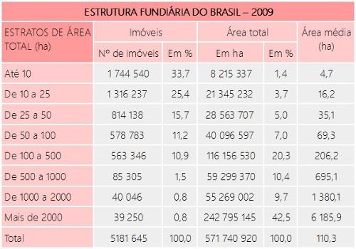 Tabela elaborada pelo DIEESE a respeito da estrutura fundiária no Brasil ¹