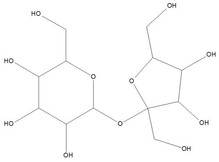 Fórmula estrutural do açúcar (sacarose)