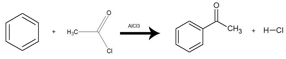 Equação que representa uma acilação do benzeno pela utilização do cloreto de etanoíla