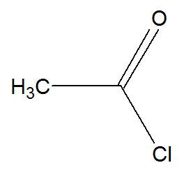 Fórmula estrutural do cloreto de etanoíla