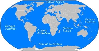 Mapa genérico dos oceanos da Terra