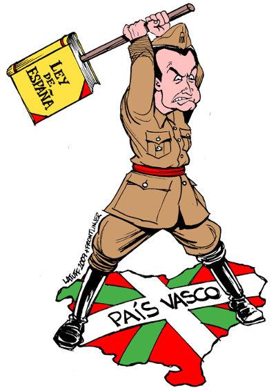 """Charge de Carlos Latuff sobre a """"Ley de España"""" e o País Basco"""
