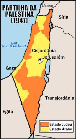Mapa ilustrativo da partilha da Palestina em 1947