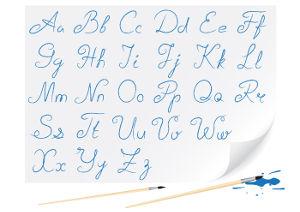 """Escrito à mão, o alfabeto é regido pela técnica da caligrafia, que consiste no """"bom talhe da letra"""""""