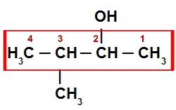 Fórmula estutural do 3-metil-butan-2-ol