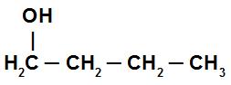 Estrutura de um álcool com ligações simples entre os carbonos