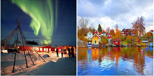 Aurora boreal e o clima na Suécia