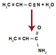 Reação de formação da acrilamida por hidratação