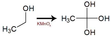 Equação de formação de álcool gemino com três OH a partir do etanol