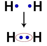 Elétrons de dois átomos de Hidrogênio ocupando a mesma nuvem eletrônica