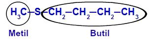 Identificação dos radicais maior e menor do tioéter 1