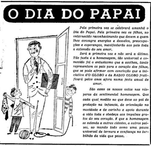 Jornal O Globo divulga O Dia do Papai na capa do dia 15 de agosto de 1953