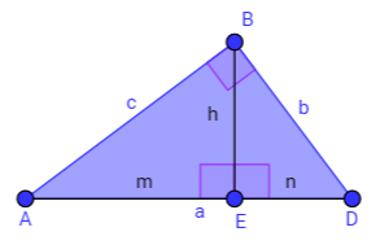 A altura desse triângulo retângulo forma dois ângulos de 90° com sua base