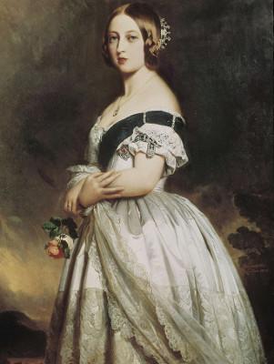 A Rainha Vitória com o seu vestido de casamento foi retratada em pintura de Michelangelo