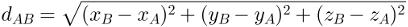 Fórmula da distância entre dois pontos no espaço