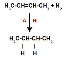 Equação representando a formação do alcano na hidrogenação