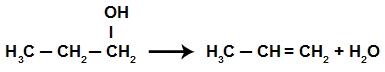 Criação da ligação pi na reação de eliminação do propan-1-ol