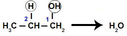 Formação da água a partir do propan-1-ol