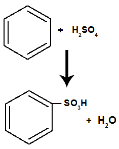 Equação representando a sulfonação do benzeno