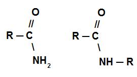 Fórmula estrutural de algumas amidas