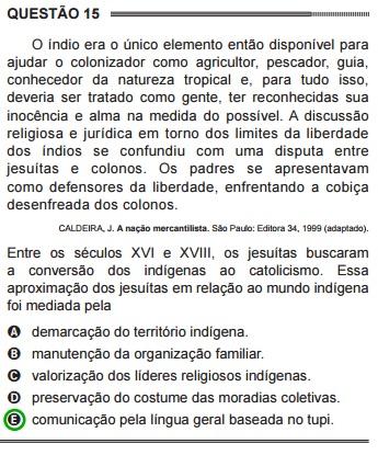 Questão 15 do ENEM de 2014, extraída do caderno 1, cor azul