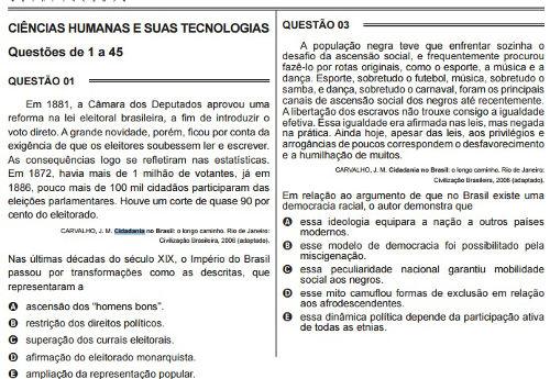 Questões 01 a 03, ENEM - 2015, Caderno 1, azul