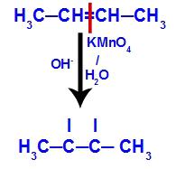 Quebra da ligação pi entre os carbonos 2 e 3 no but-2-eno