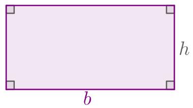 Exemplo de retângulo com destaque para as medidas b e h