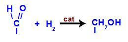 Representação da conversão do grupo carbonila em hidroxila no carbono saturado