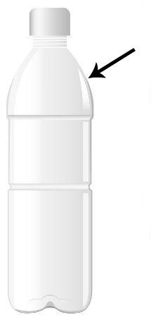 Sugestão da área que deve ser cortada na garrafa PET para construir um funil