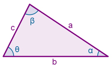 Triângulo não retângulo para o qual valem as expressões acima