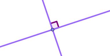 Exemplo de retas perpendiculares, ou seja, que formam um ângulo de 90°