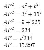 Cálculo da diagonal com o teorema de Pitágoras