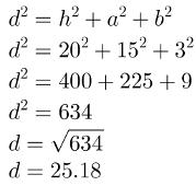 Diagonal do bloco retangular usando a fórmula
