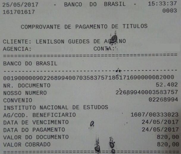 Comprovante de pagamento do Enem de Lenilson Guedes