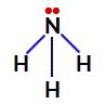 Elétrons não ligantes do nitrogênio na amônia