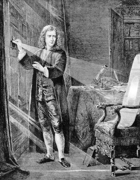 Ao passar a luz do Sol através de um prisma, Isaac Newton pôde observar o fenômeno da dispersão da luz