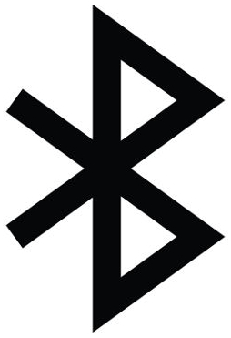 Simbolizada por essa imagem, o Bluetooth tem em seu nome uma homenagem a um rei dinamarquês