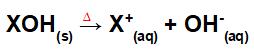 Equação que representa a dissociação de uma base pelo processo de fusão