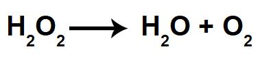 Equação da decomposição do peróxido de hidrogênio