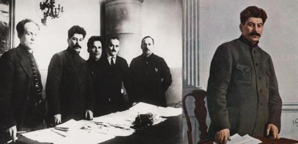À esquerda, foto original de Stalin com os dirigentes. À direita, cartão-postal a partir da foto editada.