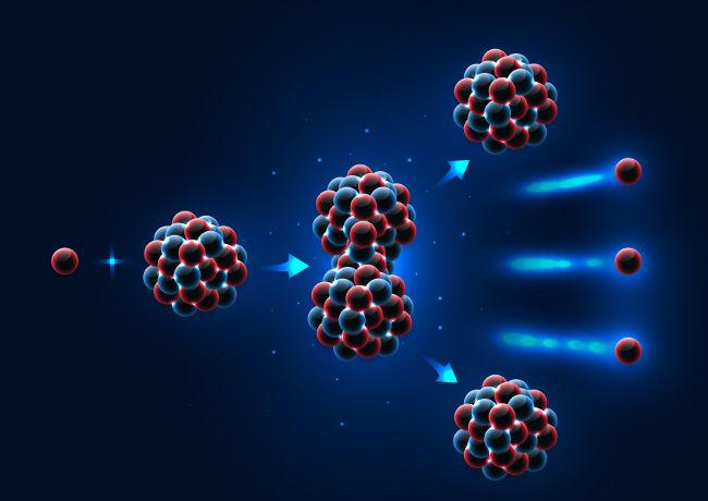 A fissão nuclear é uma reação em cadeia que ocorre quando um núcleo atômico pesado captura um nêutron lento.