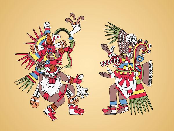 Representação moderna de dois deuses astecas: Quetzacoatl e Tezcatlipoca.